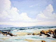 Artwork >> Pierre Vanmansart >> #artworks, #masterpiece, #painting, #art, #nature, #water, #waves, #storm, #Sky