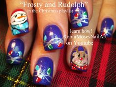 Cute Christmas Nail Art - Frosty and Rudolph!
