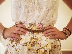 Lace! love the floral with the belt too.