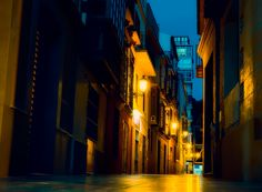 Night street light - Malaga city, the old town, Spain.