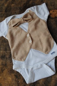 Vest and Bow Tie Onesie - Tan Houndstooth -Trendy Baby Clothes for the Dapper Little Dude