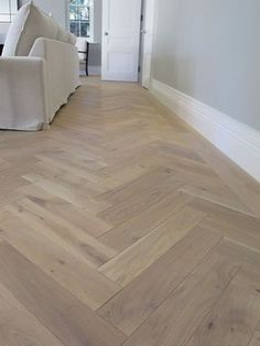 PIN 6 - This a lovely example of how vinyl floorboards can add that wood look to any house with half the cost. Has a great affect paired with the grey walls and white skirting. Living Room Flooring, Basement Flooring, Parquet Flooring, Kitchen Flooring, Hardwood Floors, Flooring Ideas, Pvc Flooring, Bedroom Flooring, Living Rooms