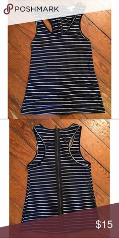 Urban Outfitters (silence&noise) striped tank Urban Outfitters (silence & noise label) size small tank top. Navy blue and white striped, with back zipper detail. Perfect summer tank top! **** 15% off bundles of 2 items or more! *** Urban Outfitters Tops Tank Tops