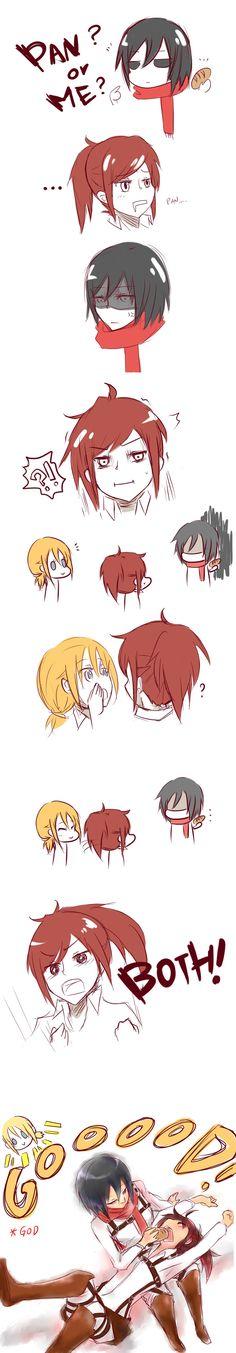 Attack on titan yuri Yuri Anime, Anime Oc, Otaku Anime, Anime Manga, Attack On Titan Comic, Attack On Titan Ships, Attack On Titan Fanart, Mikasa, Haikyuu Anime