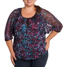 George Women's Plus-Size Printed Dolman Blouse