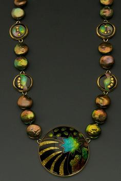 Enamel and pearl necklace by Lisa Hawthorne.