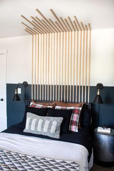 Add dimension to your bedroom with this Vertical Slat Wall that also works as a DIY headboard! Easy bedroom DIY. Slat Wall, Diy Beauty, Diy Room Decor, Diy Projects, Diy Crafts, Bedroom, Do It Yourself, Bedrooms, Diy Home Crafts