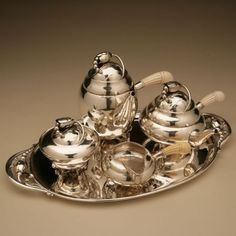 "Gallery 925 - Georg Jensen Super Rare ""Baby"" Blossom Coffee & Tea Service with Tray, no. 2 , Handmade Sterling Silver"