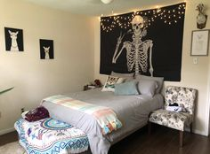 TapestryGirls.com Kiss Of Death, Bedroom Styles, Tapestry Wall Hanging, Skeleton, Furniture, Barn, Skull, Rooms, Lighting
