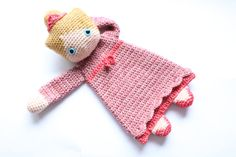 Every princess will love this little princess! Even though the body is flat like a lovey, this doll will leave much more room for imagination and be a best friend to toddlers and even older children. This is an easy pattern which works up rather fast. Level: Advanced beginner or intermediate. (Because of the intarsia color work) You'll need: -Dk weight yarn in: yellow or other hair color (100m), pink (100m) and red (50m), I used Scheepjeswol Stone Washed. For skin (80m), I used…