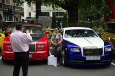 A woman poses for a photograph between a Saudi Arabian-registered and a Kuwaiti-registered Rolls-Royce on July 2015 in London, England. London has become known in recent years for a proliferation. Get premium, high resolution news photos at Getty Images Customize My Car, Miniature Cars, Car Museum, Female Poses, Rolls Royce, Vehicles, London England, Photograph, Woman