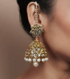 Pearl Kundan Embellished Jhumki Earrings by Indiatrend Shop now on… India Jewelry, Ethnic Jewelry, Antique Jewelry, Gold Jewelry, Jewelery, Jewelry Accessories, Jewelry Design, Pakistani Jewelry, Bollywood Jewelry
