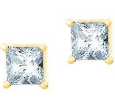Princess Diamond Stud Earring, 14K Gold 1/10 ctby Affinity