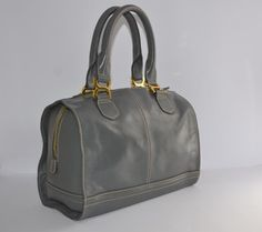 Lg Quality Grey Leather Bowling Bag Tote Handbag Marks Spencer Sample Pristine
