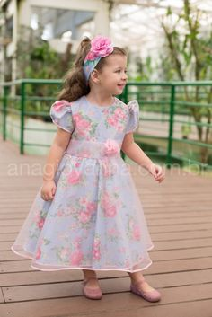 Vestido de festa infantil azul