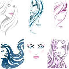 rostros de mujer en trazos Barber Shop, Hairdresser, Salon Logo, Silhouette Vector, Doodle Drawing, Zentangle, Face Sketch, Logos, Drawing Practice
