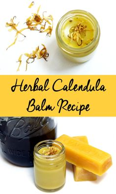 Herbal Calendula Balm Recipe! Use this natural herbal calendula balm recipe to help promote healing with the power of calendula when used on minor cuts, bruises and insect stings.