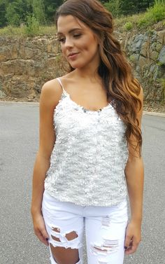 Silver Sequin Tank by Sugarlips $55.  Go for the glam look in this cute sequins tank. Also great for the holiday season.