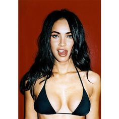Shiny Megan Fox Licking Her Lips ❤ liked on Polyvore featuring beauty products