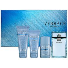 Versace Eau Fraîche Gift Set by Versace. $78.00. This fresh, sexy interpretation of the Versace Man fragrance is a softer, more subtly sexy version of the original. Smooth fruits spiced with green leaves and warm notes of musk, amber, and sycamore wood make this a scent for today's more introspective man.This set contains: - 3.4 oz Perfumed Bath & Shower Gel- 2.5 oz After Shave Balm- 2.5 oz Deodorant Stick- 3.4 oz Eau de Toilette Natural SprayNotes: White Lemon, Rosewood, Caramb...
