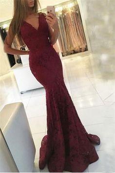 V-neck Sweep-Train Lace Mermaid Sleeveless Newest Prom Dress