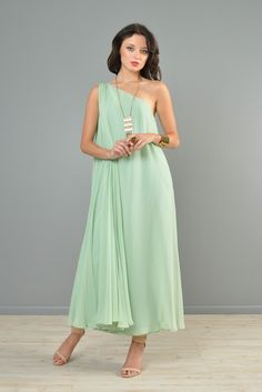 Mint Green 1960s One-Shouldered Silk Chiffon Gown | BUSTOWN MODERN