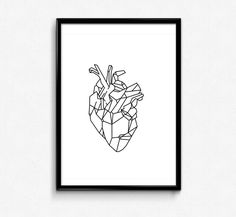 Minimalist Poster Geometric Art Anatomic heart by HamptyDamptyArt