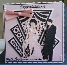 Card made using the Art Deco Die and the Glitz and Glam Art Deco Grace and Charles dies