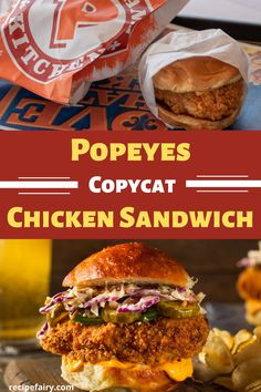Popeyes Chicken Sandwich This copycat Popeye Chicken Sandwich recipe is equivalent to the real thing. Never suffer from another sold out restaurant message. Enjoy this copycat recipe from home. Top Secret Recipes, New Recipes, Cooking Recipes, Favorite Recipes, Healthy Recipes, Healthy Food, Game Recipes, Tofu Recipes, Healthy Eating