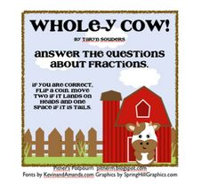Classroom Freebies: Whole-y Cow! It's Fractions!
