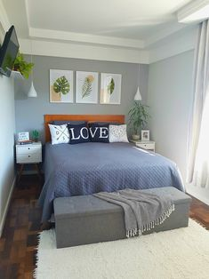 Small Bedroom Ideas That Looks Stylishly and Space Saving Room Ideas Bedroom, Small Room Bedroom, Bedroom Colors, Home Decor Bedroom, Living Room Decor, Tiny Master Bedroom, Small Apartment Bedrooms, Bedroom Signs, Bedroom Black