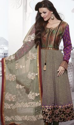 Brown Full Sleeve Faux Georgette Long Anarkali Salwar Kameez $79.30
