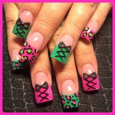 Neon leopard and corsets by Oli123 - Nail Art Gallery nailartgallery.nailsmag.com by Nails Magazine www.nailsmag.com #nailart