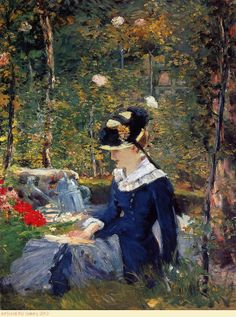 thelongvictorian: Young Girl on the Threshold of the Garden at Bellevue by Édouard Manet French Impressionist painter. Claude Monet, Pierre Auguste Renoir, Post Impressionism, Impressionist Paintings, Oil Paintings, Edouard Manet Paintings, Camille Pissarro, Woman Reading, French Art