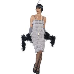 Long Silver Flapper Fancy Dress Costume Gatsby Outfit Sizes S-Xxl Casino Dress, Casino Outfit, Night Outfits, Dress Outfits, Dresses, Dress Clothes, Gatsby Outfit, Full Body Costumes, Frack