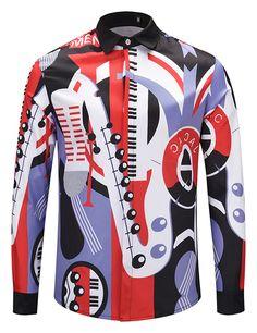 03747285c49 CAMISA · Pizoff Mens Long Sleeve Luxury Design Print Dress Shirt Y1792-F7