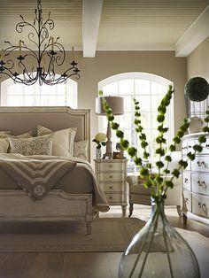 Serene Master Bedroom Hardwood Floors, Chandelier, Soothing Spa Colors