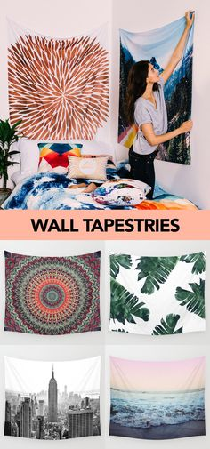 Cover your walls with TAPESTRIES! Society6 has TONS of prints to choose from, all designed by independent artists. Diy Home Decor Bedroom, Bedroom Storage, Diy Projects For Bedroom, Living Room Interior, Room Tapestry, Tapestries, Tumblr Room Decor, Basement Bedrooms, Decorating Small Spaces