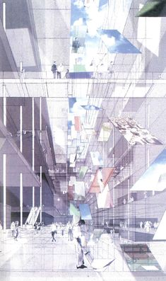 Dominic Perrault, Inside the Prism Ink-jet on photographic paper, 1999 Architecture Concept Drawings, Chinese Architecture, Architecture Details, Famous Architecture, Architecture Diagrams, Architectural Section, Architectural Presentation, Section Drawing, Study Room Design