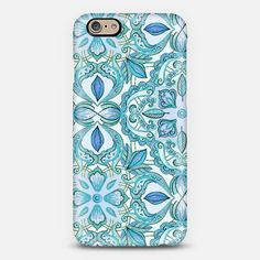 #blue #teal #aqua #floral #pattern #iPhone6 #casetify #cover Phone Case | iPhone 6 | Casetify | Portrait | Graphics | Painting  | Micklyn Le Feuvre