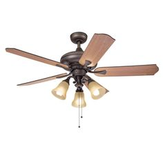 This 52 inch ceiling fan features a bronze finish and veneer reversable blades so you can have walnut or cherry colors that will compliment traditional decors. Includes a 3-light kit with tea stained glass that softens the light and completes the look.