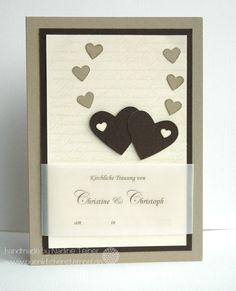 Wedding card, stampin up, hearts, en Français