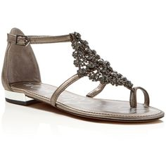 0d57aefb2 Sam Edelman Dillan Metallic Jeweled T-Strap Flat Sandals ( 115) ❤ liked on