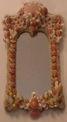 Miniature hand made seashell mirror