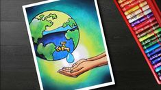 How to draw save water drawing - poster on save water Oil Pastel Paintings, Oil Pastel Art, Save Water Poster Drawing, Poster On Save Water, Save Water Pictures, Save Earth Drawing, Water Sketch, Earth Day Posters, Drawing Scenery
