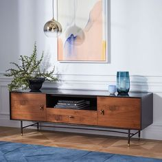 "$1200 Modernist Wood + Lacquer Media Console | 68"" West Elm"