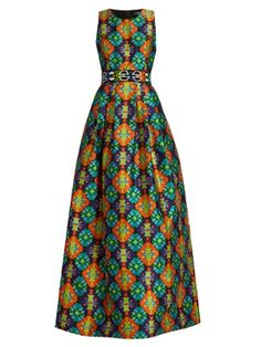 Geometric-print sleeveless gown by Andrew Gn