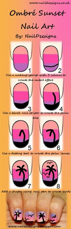 Ombre Sunset Nail Tutorial .x.