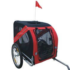 Comfy Pet Bike Trailer, Red/Black >>> See this great image (This is an affiliate link and I receive a commission for the sales) Puppy Carrier, Cat Carrier, Pet Bike Trailer, Dog Kennels For Sale, Biking With Dog, Cool Dog Houses, Cat Cages, Best Dog Training, Pet Store