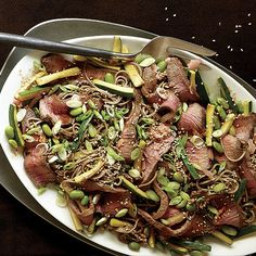 Flat Iron Steak with Zucchini, Edamame, and Soba Noodles - FineCooking